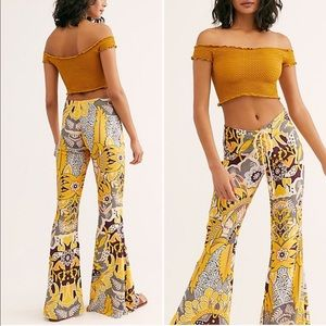 NWT Free people lenni printed lace up yellow pants